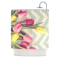 "Catherine McDonald ""Tulips and Chevrons"" Shower Curtain - 69"" x 70"" / Polyester"