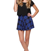 LA Hearts High Rise Blue Skater Skirt at PacSun.com