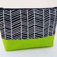 Navy blue herringbone print cosmetic case, makeup bag, zipper pouch, pencil case with chartreuse green accent