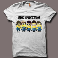 New One Direction Minion Funny Logo Despicable Me 2 Men White T SHirt - ID1