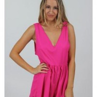 Hot Pink Lace Edge Playsuit