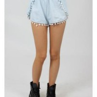 Light Denim Pom Pom Shorts