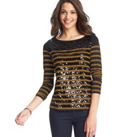 Striped Sequin Long Sleeve Tee
