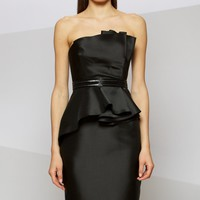 Strapless Peplum Dress by Carmen Marc Valvo