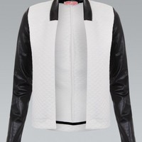 Cream Quilted Blazer With Faux Leather Sleeves & Collar