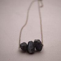 Geometric gray clay bead necklace