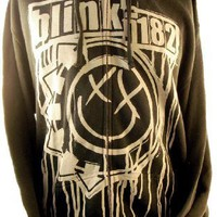 Blink 182 Mens Hoodie - X-Eyed Smile Logo on Black