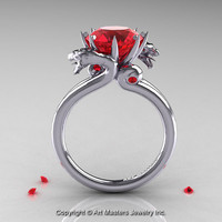Art Masters 14K White Gold 3.0 Ct Rubies Designer Engagement Ring R601-14KWGR