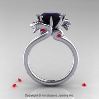 Art Masters 14K White Gold 3.0 Ct Black Diamond Ruby Dragon Engagement Ring R601-14KWGBDR