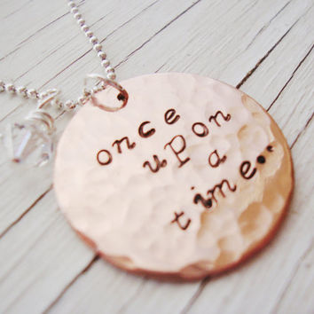 A story handstamped necklace once upon a time with swarovski crystal