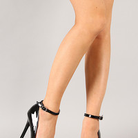 Qupid Potion-90 Ankle Strap Pointy Toe Pump