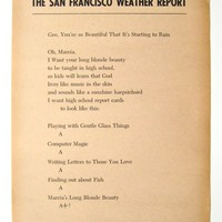 RICHARD BRAUTIGAN The San Francisco Weather Report : BOOK/SHOP