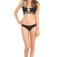 One Teaspoon Eagle Shadows Bikini Bottom In Black