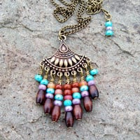 New ~~ Gypsy Fan - Beaded Pendant Necklace