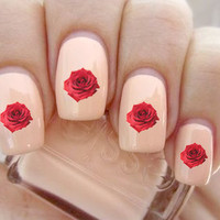Realistic Red Rose Nail Decals-24 ct.