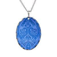 Blue Oriental Peacocks Pattern Necklace