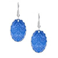 Blue Oriental Peacocks Pattern Earring
