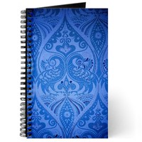 Blue Oriental Peacocks Pattern Journal