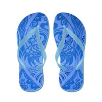 Blue Oriental Peacocks Pattern Flip Flops