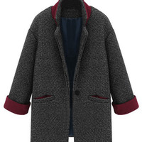 ROMWE | ROMWE Color Block Folded Pocketed Deep Grey Coat, The Latest Street Fashion