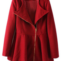 ROMWE | ROMWE Oblique Zipper Pleated Long Sleeves Red Coat, The Latest Street Fashion