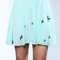 DJPremium.com - Sheer Bird Print Skirt