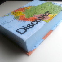 Keepsake Box - Discover the World Map Box Personalized Design 5x7 Hand-bound Handmade Gift Customized