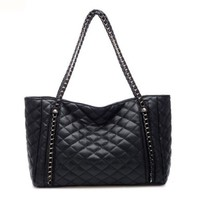 Black Diamond Shape Large Chain Vintage Shoulder Bag Casual Totes