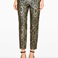 Slim Leg Black Brocade Trousers by Raoul