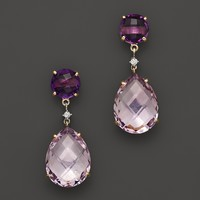 14K Yellow Gold Amethyst & Rose Amethyst Drop Earrings