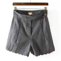 Slim Skinny Flounce Leisure Woolen Shorts,Cheap in Wendybox.com