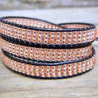 Beaded Leather Wrap Bracelet 3 or 4 Wrap with Rose Gold Champagne Pink Glass Seed Beads on Black Leather