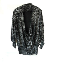 80s Metallic Animal Print Blouse // M