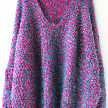 Purple Long Sleeve V Neck Oversize Mohair Sweater - Sheinside.com