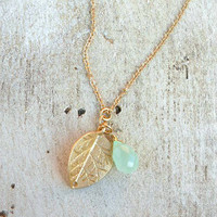 Golden Leaf Charm Necklace [3562] - $12.00 : Vintage Inspired Clothing & Affordable Dresses, deloom | Modern. Vintage. Crafted.