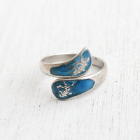 Vintage Sterling Silver Siam Ring - Adjustable Blue Enamel Thai Wrap Jewelry / Thailand Dancing Niello Goddesses