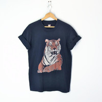 80s Tiger Tee Tshirt Grunge Thin Soft Big Cat