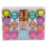 40-Piece Bright Fashion Pack Ornament Set - Multi
