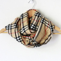 Plaid Infinity scarf - Camel plaid scarf - Unisex scarf - Winter Scarf - Christmas gift