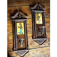 big eye candle sconce set retro vintage sad eye print candle mod candle holder kitsch