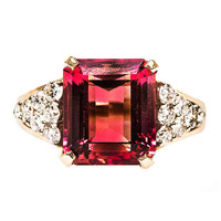 1980s Pink Tourmaline & Diamond Ring