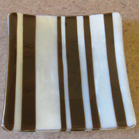 Brown, Cream Striped Jewelry Plate, Soap Dish, Candle Holder, Home Decor Plate - Sable Ridge - 285