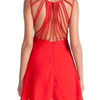 Red Open Back Strapped Dress