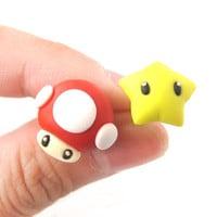 Super Mario Mushroom and Star Power Up Polymer Clay Earrings