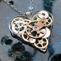 "Mechanical Heart Necklace ""Order"" Clockwork Elegant Industrial Heart Necklace Mechanical Love Sculpture Gershenson-Gates Gear Heart"