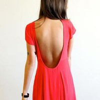 Red Deep Scoop Open Back Short Sleeve Dress