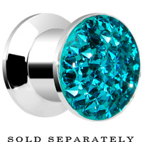 0 Gauge Zircon Blue Ferido Crystal Steel Screw Fit Plug | Body Candy Body Jewelry
