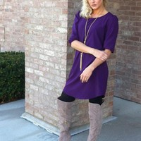 Purple 3/4 Sleeve Tunic Dress