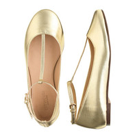 GIRLS' METALLIC T-STRAP BALLET FLATS