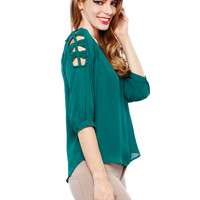 SHOULDER STRING CHIFFON TOP